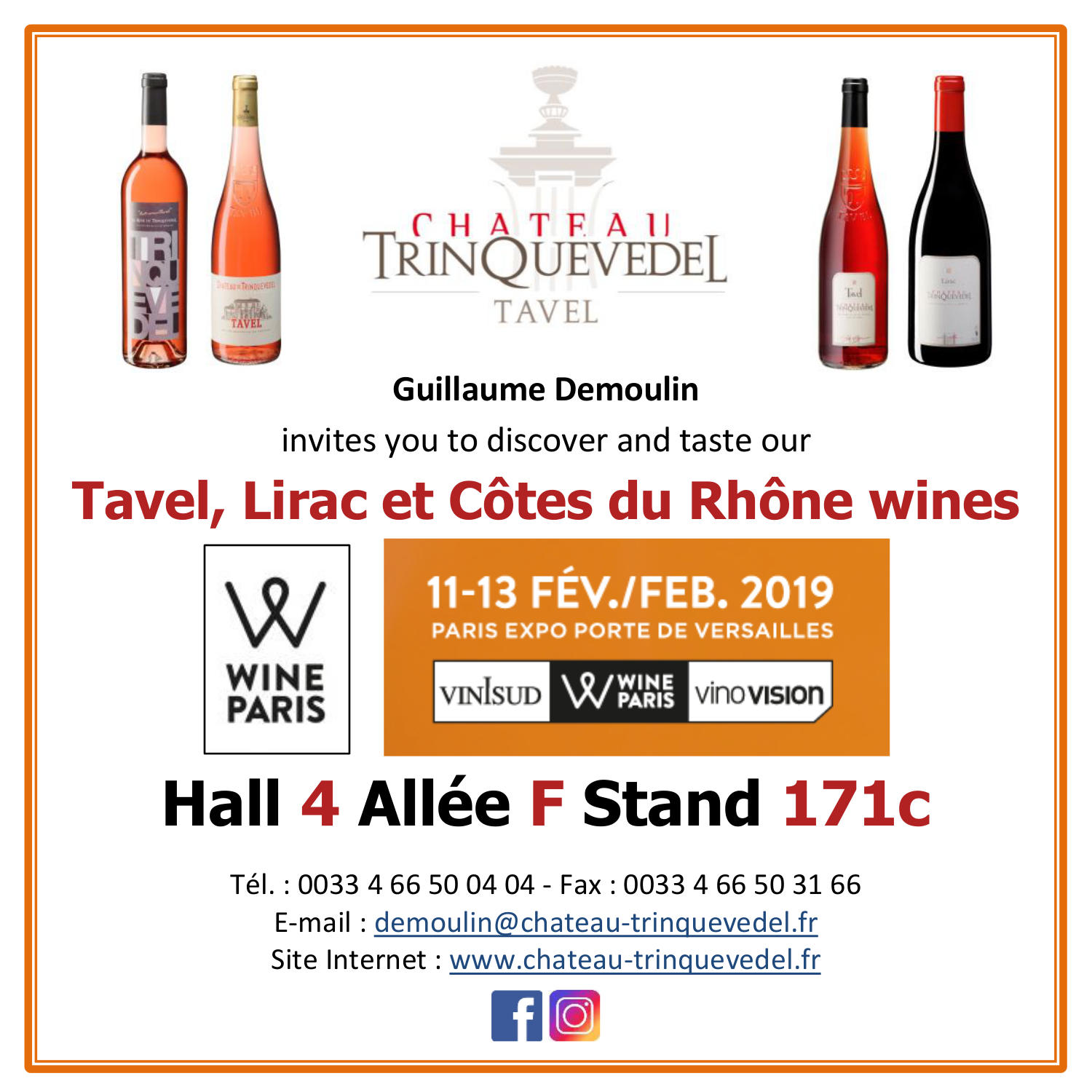 WINE PARIS, We'll be there : Hall 4 Allée F Stand 171c